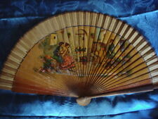 ANTIQUE SPAIN SPANISH FRANCE WOODEN/FABRIC FAN FIGURAL SCENE RARE COLLECTORS FAN