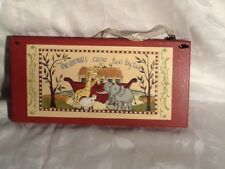 "NOAH'S ARK WOODEN PICTURE / THE ANIMALS CAME TWO BY TWO (5""X10"")"