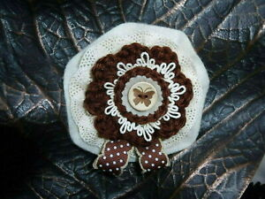 Handmade textile knitted flower brooch with felt ,lace, button