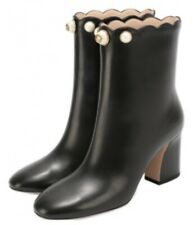 Authentic Gucci Willow Pearl GG Logo Black Leather Ankle Boots Sz EU 36,5 US 6,5