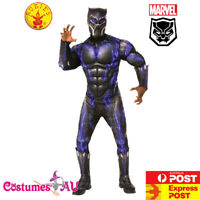 Deluxe Mens Black Panther Battle Costume Civil War Superhero Halloween Party