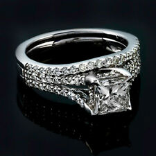 Princess Cut Solitaire 2.02 Carat Diamond G VS2 Engagement Ring White Gold Set