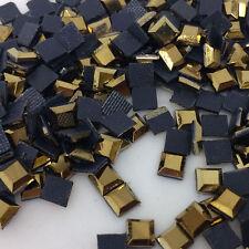 1000pcs 4x4mm Metallic Gold Flat Top Square Iron On Hotfix Crystal Rhinestones