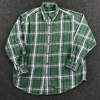 Vintage Y2K Towncraft Button Down Flannel Shirt Mens Large Green Plaid