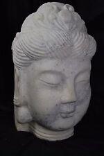 """Hand Carved Marble Stone Goddess Kwan-Yin Buddha Head Bust Statue ~ Guan-Yin 12"""""""