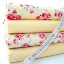 4 X FQ Bundle - Rosalind Rose Yellow Florals 100 Cotton Fabric Patchwork Craft