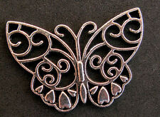 SILVER Stencil Celtic Butterfly Vintage Pendant Antique Jewelry Charm Necklace