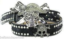 BB Simon Swarovski Crystal Pirate Leather Belt 38 XXL New