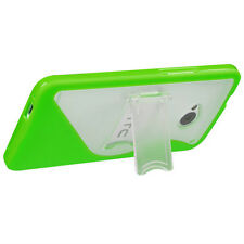 For HTC ONE / M7 TPU S-Line Flexi Skin Case Cover Kick Stand Neon Green S-Shape