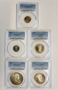 Canada 1967 Elizabeth II Silver Five Coin Toner Collection in PCGS Slabs 790I