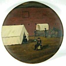 FOLK ART Plate Settlers Travelling West, Wagon Camp @ Fort, Horses & Fiddle 1880