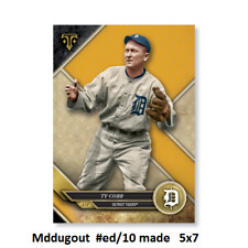 TY COBB #75 TIGERS HOF #ed/10 made Gold 5X7 - 2017 TOPPS TRIPLE THREADS