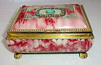 Vintage Pink Marbleized English Blue Bird Confectionery Tin