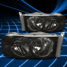 Fit Dodge Ram 02-05 Euro Smoked Housing Clear Corner Left+Right HeadLights Light