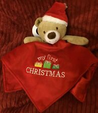 Baby Starters My First Christmas Bear  Comforter Blankie Doudou Baby Soft Toy