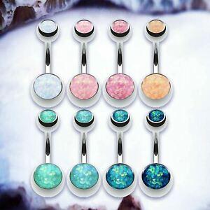 MERMAID Faux Opal Belly Bar Silver Belly Bars Navel Piercing Simple Navel Ring