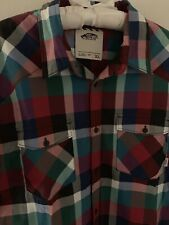 XL Vans Fall Plaid Check Button Shirt Extra Large Skate Red Green Blue Hipster
