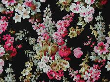 Patchwork Rosenstoffe Romantik Rosen Blüten Flieder Pink Rosa auf Schwarz BW