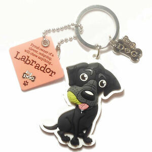 """Wags & Whiskers Dog Key Ring """"Labrador (Black)"""" by Paper Island"""