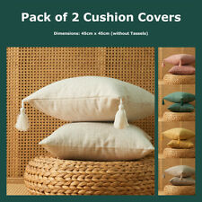 Pack of 2 Textured Cotton Linen Tassel Cushion Covers 45*45cm Mixed Pillow Cases