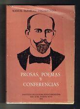 Manuel Elzaburu Vizcarrondo Prosas Poemas Conferencias Puerto Rico 1971 ICP