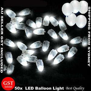 50x White LED Balloon Lights Paper Lantern Light Lamp Wedding Christmas Decor AU
