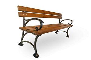 Garden Park Patio Bench with armrest HEAVY Solid Adler Wood 160cm Cast Iron