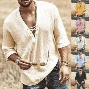 Pullover Men's Tops Shirts Bandage Blouse Lace-up Loose Male Mid-Sleeve