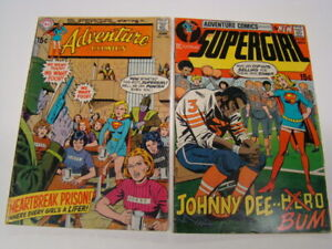 1970 Adventure Comics #394 & 399 Supergirl Unpublished GA Black Canary Story VG