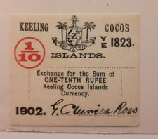 cocos keeling islands 1902 one-tenth rupee