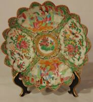 "Antique Chinese Rose Medallion Famille Porcelain Scalloped Bowl 10 1/2"" 19th C"