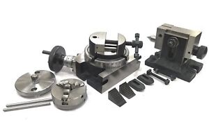"""4""""100MM ROTARY TABLE+HORIZONTAL VERTICAL+TAILSTOCK+M6 CLAMP+65MM 3JAW SELF+VICE"""