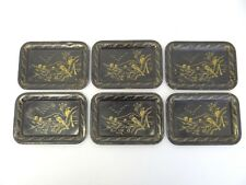 Vintage Japanese Small Coin Trays Plates Set 6 Old Metal Black Gold Painted Bird