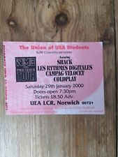 Rare Coldplay Ticket - NME CARLING PREMIER TOUR 2000 - NORWICH UEA
