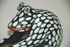 Oaxacan Frog Signed Pedro Hernandez Cruz Wood Black White Handmade Folk Art Book
