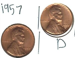 1957-D+P Brilliant Uncirculated Business Strike Copper One Cent Coins!
