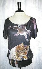 Women's Loyal Army Clothing Casual Black Flying Space Cats S/S Top Size Small