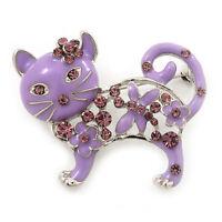 Lilac Enamel, Crystal Cat Brooch In Silver Tone - 45mm L