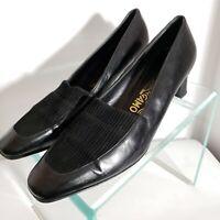 Vtg Salvatore Ferragamo Black Pumps Heels Shoes Leather & Corduroy Size 8.5 B