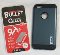 GREY  IPHONE6 PLUS BULLET CELL PHONE CASE & IMPACT RESISTANT PROTECTIVE GLASS