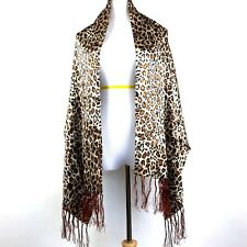 """Womens Shawl Scarf Long Fringed Leopard Silky Acetate Brown Black Cover Up 76"""" L"""