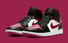 "Air Jordan 1 Mid ""Bred Toe"" Noble Red 554724-066 Basketball Shoes Men's NEW"