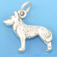 Siberian Husky Sled Dog Spitz 3D .925 Solid Sterling Silver Charm MADE IN USA