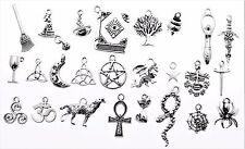 AVBeads Pagan Wicca Charms Mixed Set Silver Metal Charms 50pcs Tree Goddess Moon
