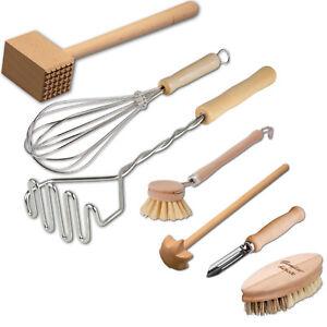 7-tlg. Küchenhelferset Kochset Küchenset Koch - Set aus Buchenholz + Edelstahl