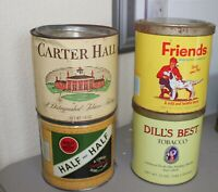 Lot of 4 Tobacco tins, Carter, Dills Best, Half& Half, Friends