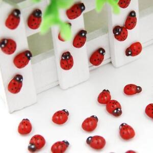 100x Wooden 3D Ladybird Ladybug Red Stickers Self Adhesive Fridge Decor Kids Toy