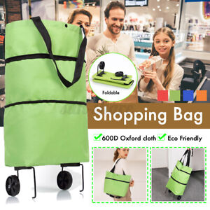 Portable Collapsible Shopping Cart Trolley Bag with Wheels Reusable Grocery Bags