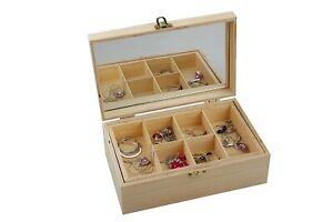 Creative Unfinished Wooden Jewellery Box Case DIY Craft Woodworking Storage Case