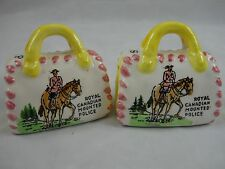 VTG SALT & PEPPER SHAKERS ROYAL CANADIAN MOUNTED POLICE HORSE RIDER SADDLE BAG